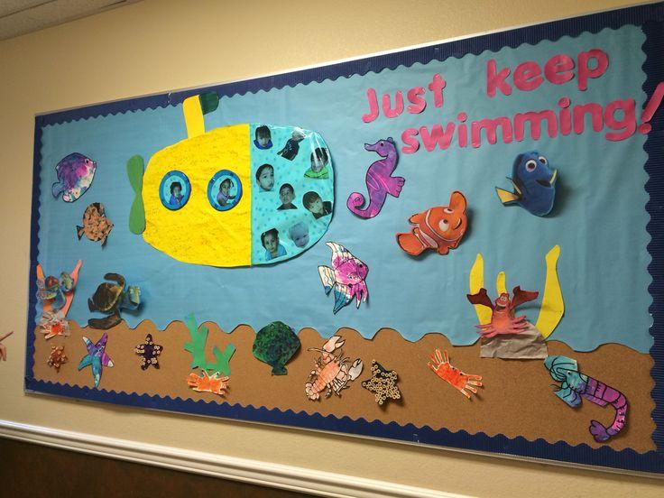 Elementary Classroom Themes ~ Yellow submarine sea life bulletin board nemo dora