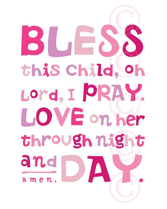 Pink Bless This Child prayer  Christian Word Art by jeannewinters, $21.00