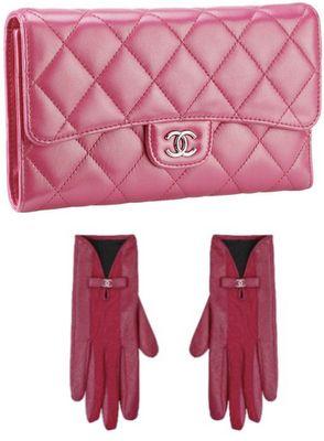 Chanel Pink perfection handbag and gloves