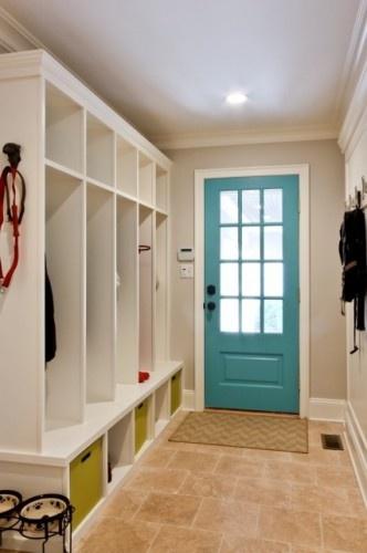 LockersTurquoise Door, The Doors, Mudroom, Blue Doors, Mud Rooms, Painting Doors, Front Doors, Doors Colors, Laundry Room