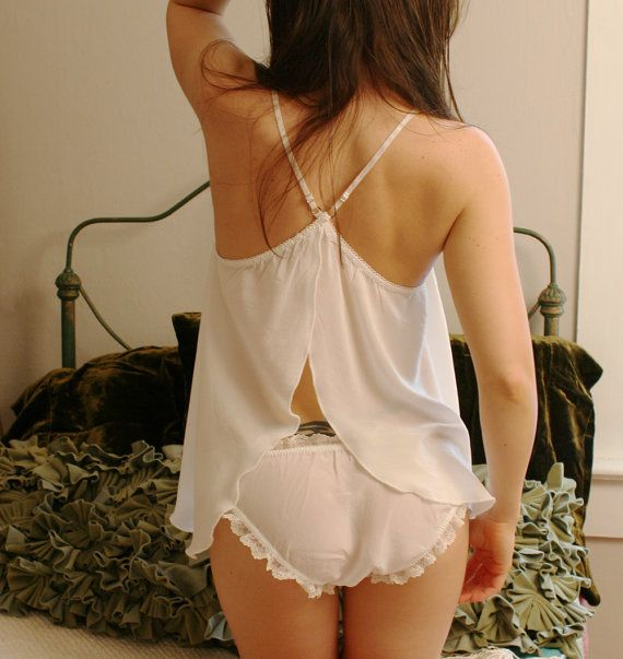 womens silk camisole with open back detail by sandmaidensleepwear