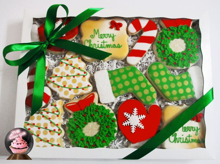 Christmas Cookies, Christmas Sugar Cookies, Decorated Christmas Cookies, Cookie Box, holiday cookies, Christmas gift, client Christmas gift, gifts for clients, corporate Christmas gifts,  corporate food gift, delivered cookies.  www.thesugarclub.etsy.com