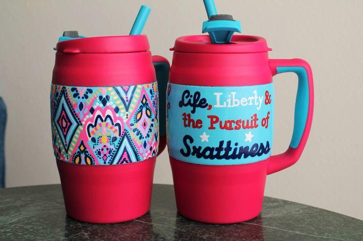 Custom Hand Painted Bubba Mug - By The Bells on Etsy - #BubbaKeg #BubbaMug #LillyPulitzer #CrownJewels #Srat #Srattiness #monogram #springbreak #paintedcooler