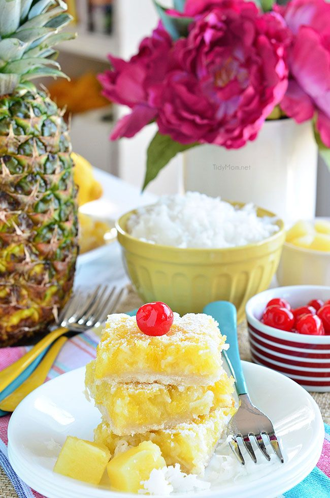 Easy Pina Colada Bars are your mental ticket to a tropic paradise.  Grab the recipe at TidyMom.net