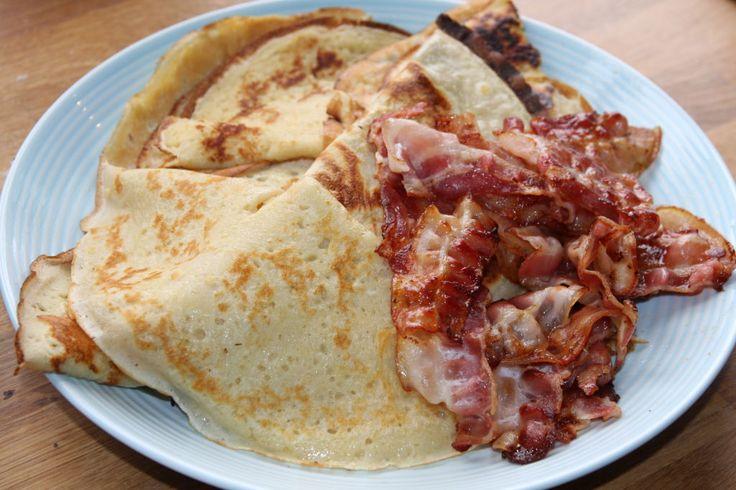 Norwegian pancakes with pork bacon