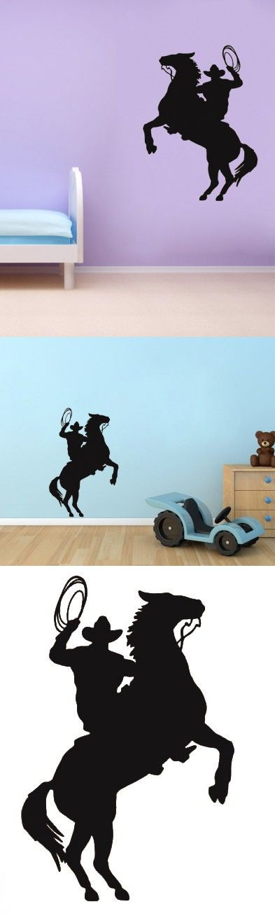 Cowboy Roper Horse Western Kids Room decoration home decor living room decorative stickers removable wall stickers $19.03