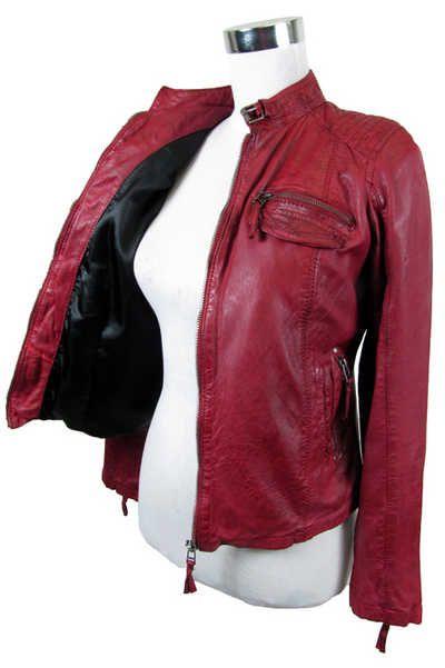 7eleven rote Lederjacke für Damen. Jetzt nur 129,95€. Erhältlich auf www.marken-lederjacken.de