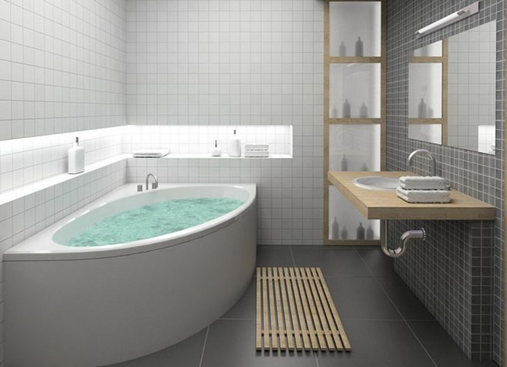 Corner Tub Ideas Part - 27: Bathroom Designs, Amazing Small Bathroom Idea Corner Bathtub Redesigning  With Grey Flooring Nice Idea Completed