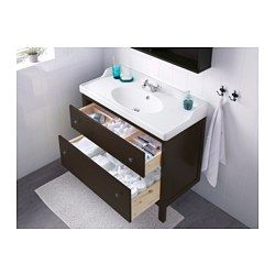 IKEA - HEMNES / RÄTTVIKEN, Sink cabinet with 2 drawers, black-brown stain, , Smooth-running and soft-closing drawers with pull-out stop.You can easily see and reach your things because the drawers pull out fully.The included water trap is easy to connect to the drain, washing machine and dryer because it is flexible.Unique water trap design gives room for a full sized drawer.