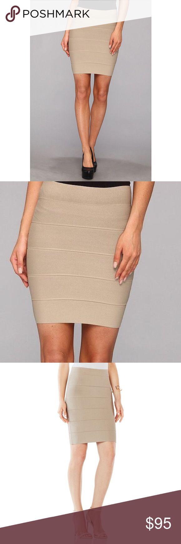 "BCBGMaxAzria Khaki Knit Body Con Skirt Brand new, never worn, size XS, approximate measurements laying flat: L/16"" x W/11"" . Pull up, Khaki bandage / body con skirt, a little stretch. Made of rayon, rayon, nylon and spandex. BCBGMaxAzria Skirts Mini"