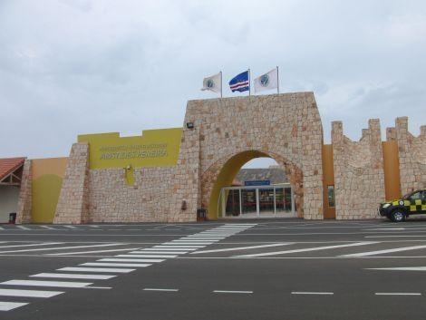 A tiny little sandcastle terminal building.  Boa Vista Airport, Cape Verde