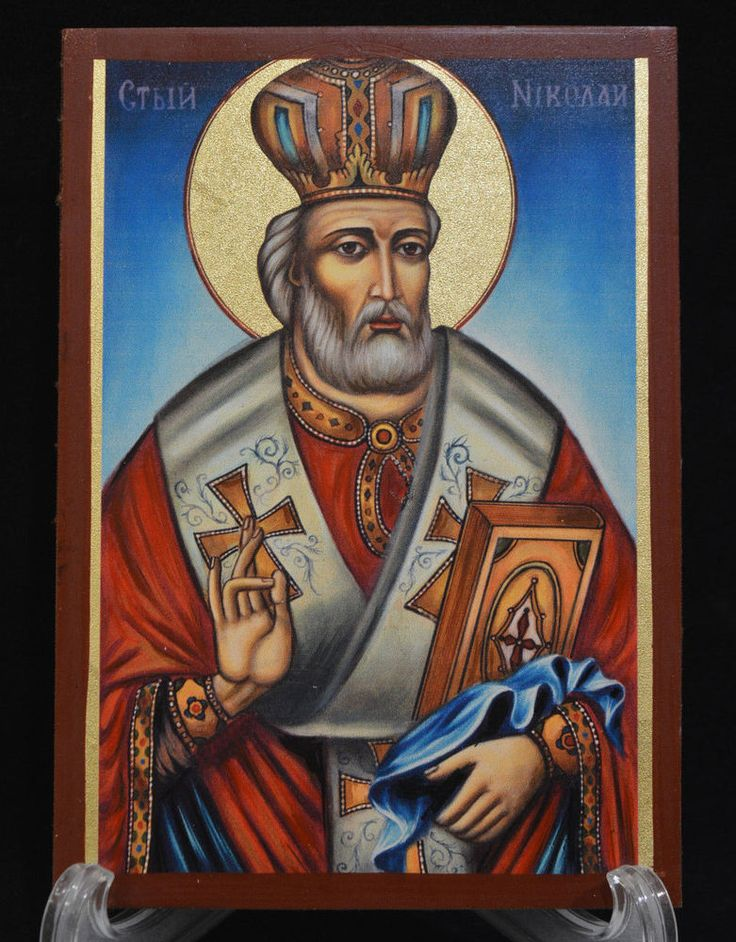 Orthodox Icon Handmade Serigraph Greek Byzantine Saint Nikolas