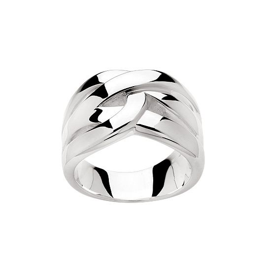 Rhodium plated polished silver ring