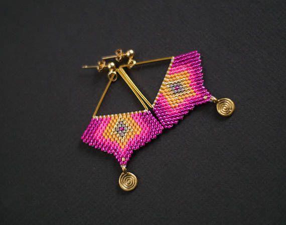 Pink and Gold Earrings Boho Chic Earrings Ethnic Earrings