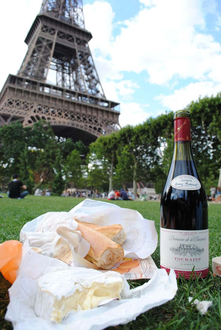 Wine, Cheese and Baguette Picnic in Paris.  I love having a picnic in Paris - one of our favorite things to do.