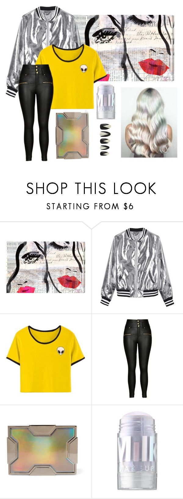 """""""Untitled #45"""" by sirensinnirvana on Polyvore featuring Oliver Gal Artist Co., Sans Souci, City Chic, Lee Savage, MILK MAKEUP, Forever 21 and plus size clothing"""