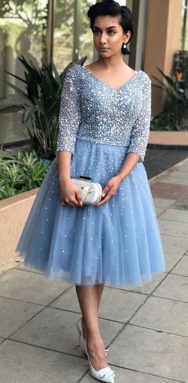 fSky Blue Homecoming Dresses, Cheap Homecoming Dresses, Long Sleeve ...