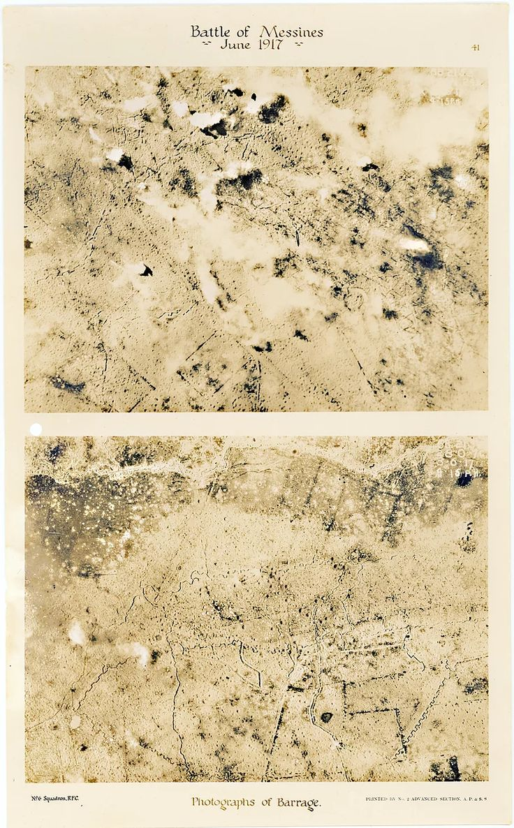 This is page 41 of 43 pages of aerial photos taken by 6 Squadron Royal Flying Corps before and after the Battle of Messines. These two photos were taken to show the impact of allied barrage north and west of Wijtschate, immediately prior to the Battle of Messines in June 1917.
