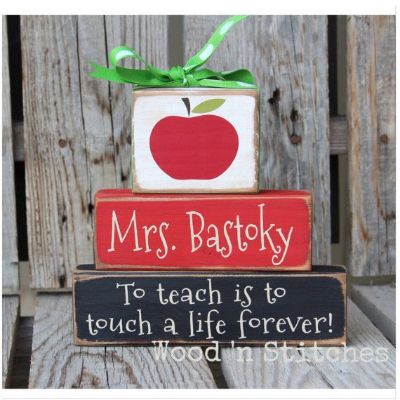 Personalized Teacher gift wood block set End of by jodyaleavitt