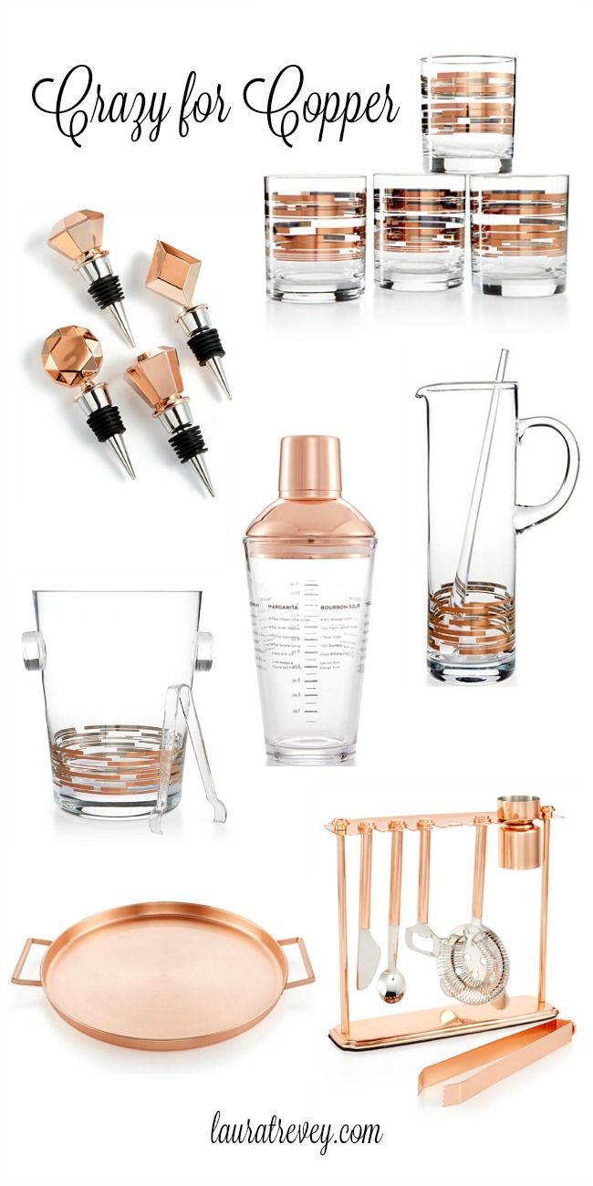 Are you entertaining this holiday? Even if it's a small girls gift exchange, I'm crazy about the new Martha Stewart Copper barware collection at Macy's.