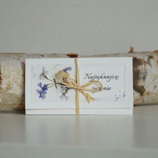Kartka ślubna Faramuszka / pressed flowers hand made card