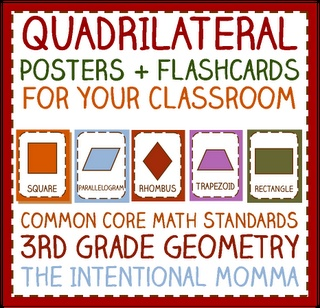 Quadrilateral / Parallelogram poster set with flashcards and worksheet, Grade 3 common core geometry