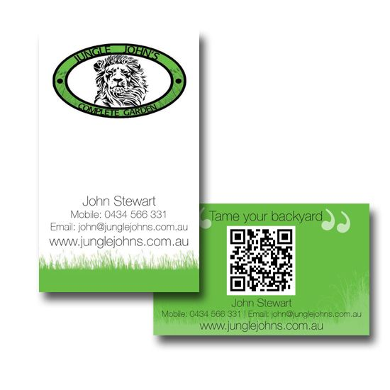 Jungle John's Complete Garden Business Cards Design by www.concept-designs.com.au. For more designs visit our website.
