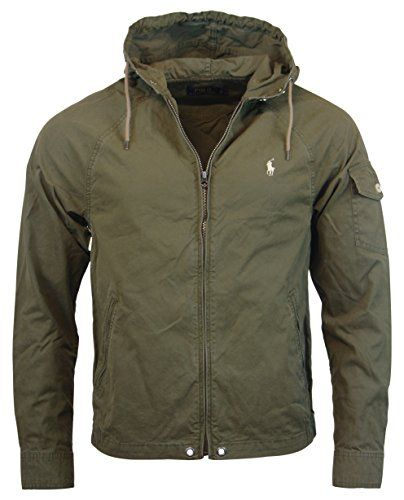 Polo Ralph Lauren Mens Nylon/Cotton Blend Hooded Windbreaker - M - Olive Green Polo Ralph Lauren ++ You can get best price to buy this with big discount just for you.++