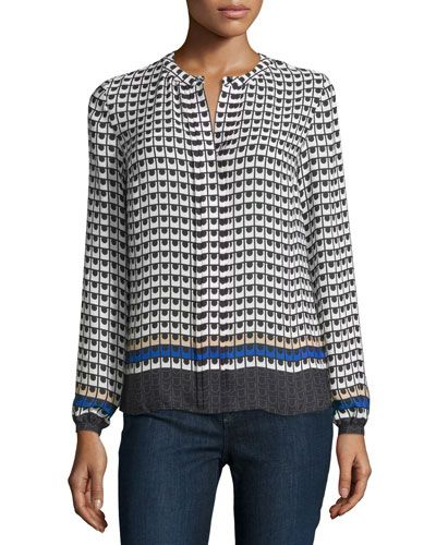 Laundry by Shelli Segal Printed Pleated-Front Blouse, Jubilee Blue New offer @@@ Price :$79 Price Sale $49