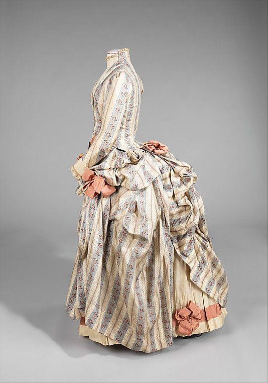 Dress.  Date: ca. 1885. Culture: American. Medium: silk, rhinestones, metal. Dimensions: Length at CB (a): 23 in. (58.4 cm). Length at CB (b): 43 in. (109.2 cm).