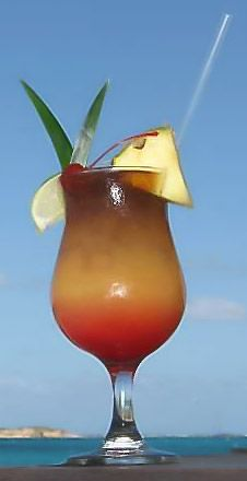 TCI Rum Punch - Grace Bay Club  Providenciales, Turks & Caicos    * 6 oz Pineapple Juice  * 3 oz Orange Juice  * ½ oz Maraschino Syrup  * 1 oz Bambarra Gold Rum  * 1 oz Myers Rum (to float)    *Combine the fruit juice, syrup and rum  *Slowly pour dash of grenadine in glass for dual color  *Float the Myer's Rum on top  *Garnish with pineapple, pineapple leaf and maraschino cherry