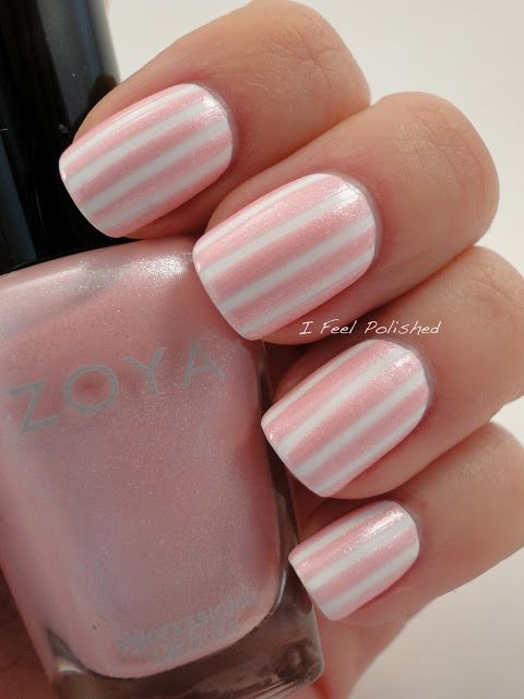 Two color colour nail art: soft baby pink (Zoya Purity) and white stripes #candy design #spring #summer #girly #easy #barbershop | I Feel Polished