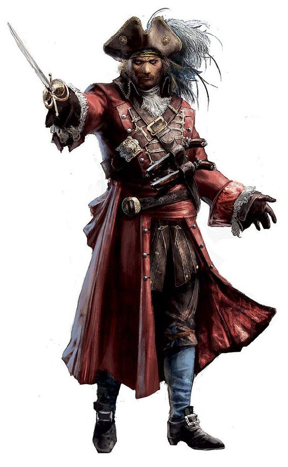 Evocative imagery for Prospero. This makes him look like a pirate captain with the large hat, jackets, and red clothing that is usually associated with wealth.