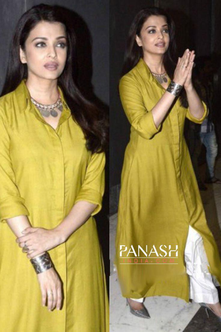 Style you daywear smartly with a cotton or silk plain kurta and a #palazzo and look stunning like #AishwaryaRaiBachchan
