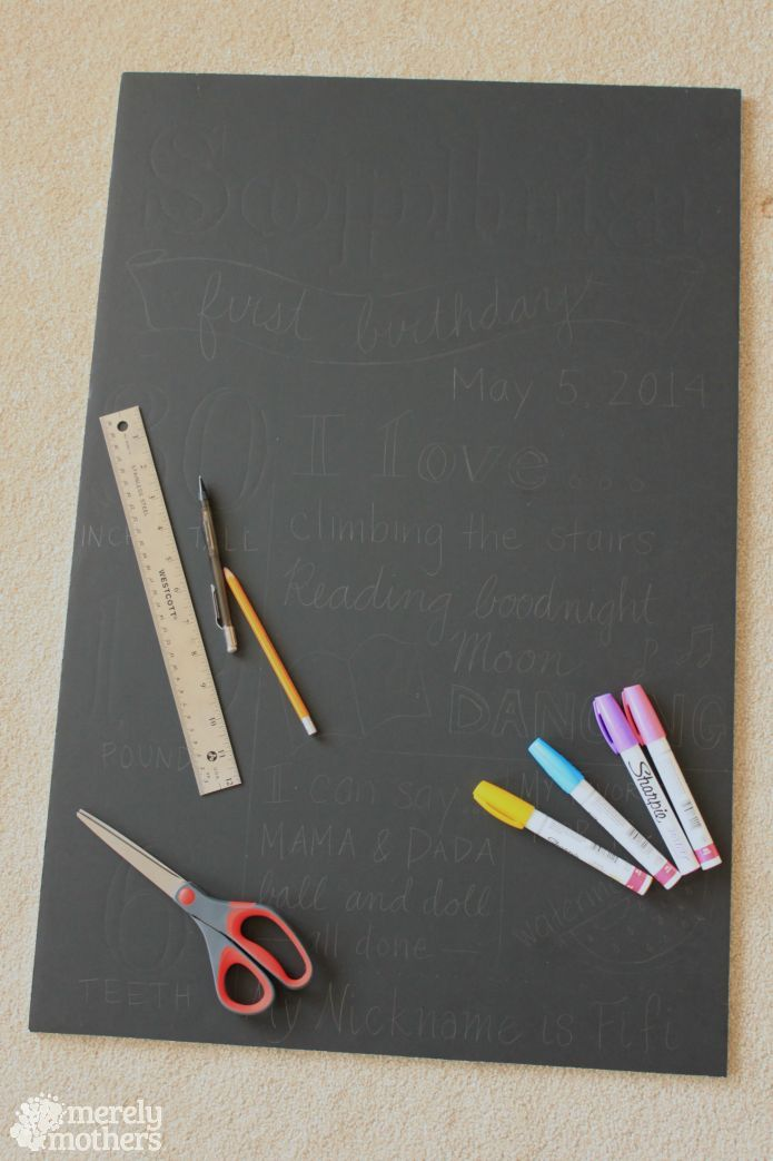 "DIY Birthday Foam ""Chalk"" Board instructions and materials"