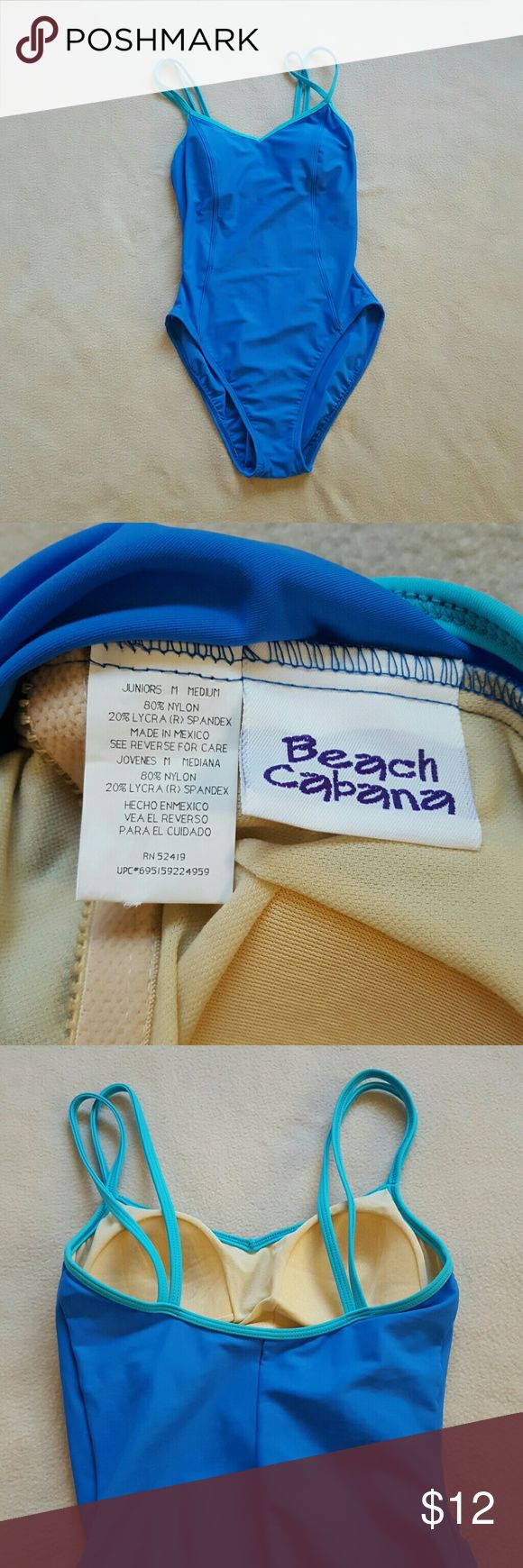 Beach Cabana blue one piece swimsuit. Blue one piece swimsuit, light blue straps, lightly padded sewn in cups, excellent condition. Beach Cabana Swim One Pieces