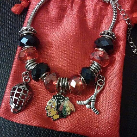 Chicago Blackhawks Bracelet Pandora Style Nhl Hockey Charms Pinterest And