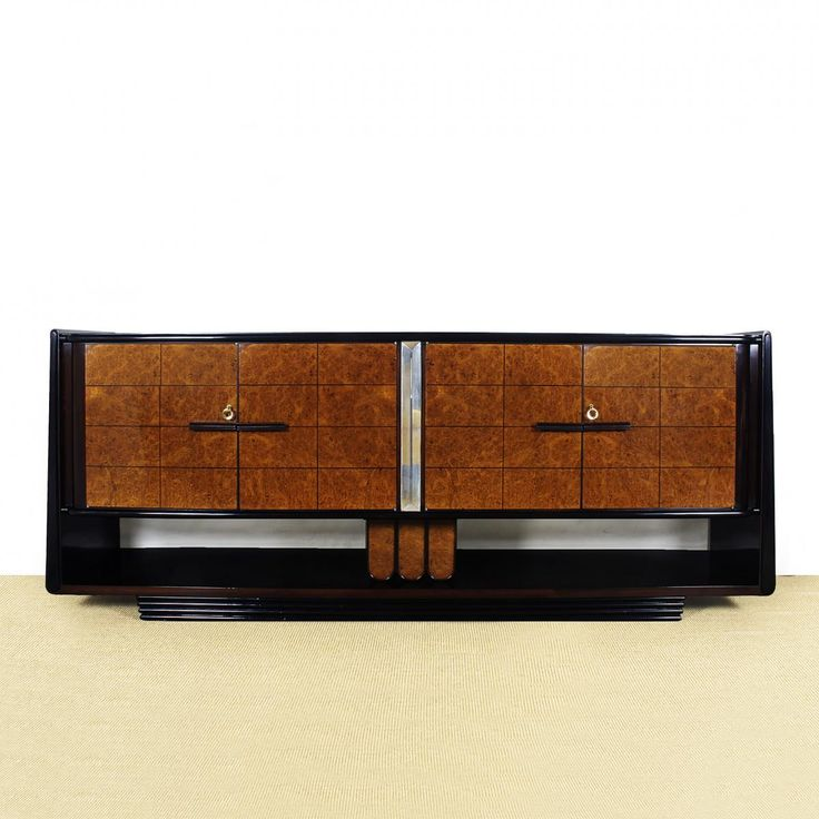 - Art Deco sideboard with four doors - Elm and rosewood veneer with blonde mahogany - Black lacquer and French polish - Rosewood interior and handles - Beveled mirror decoration between the doors - Nickel plated brass keys - Designed in the style of Osvaldo Borsani - Produced in Italy, c. 1930