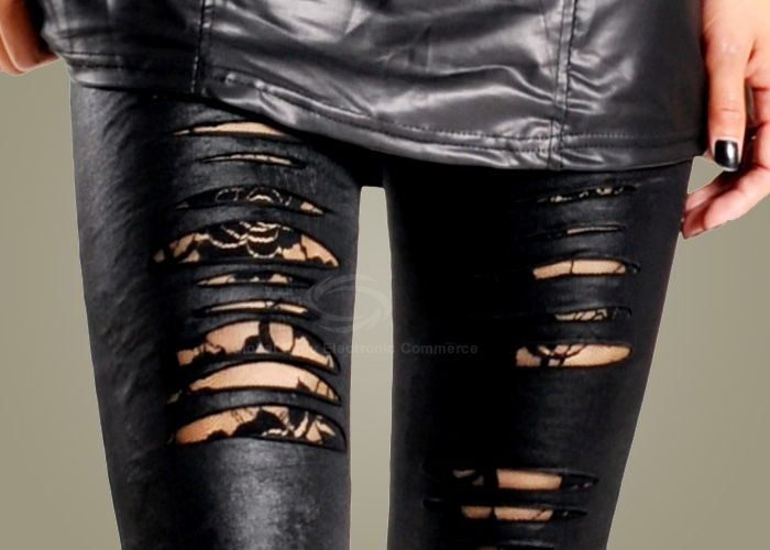 Stylish Rip Design Lace Embellished Legging For Women (BLACK) China Wholesale - Sammydress.com