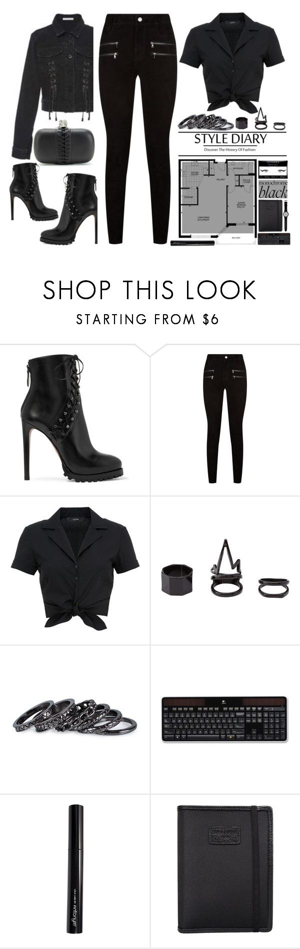 """Monochrome:All Black Everything"" by emcf3548 ❤ liked on Polyvore featuring Alaïa, Paige Denim, Hallhuber, Charlotte Russe, Pieces, Logitech, Antonym, Nava, Swatch and allblack"