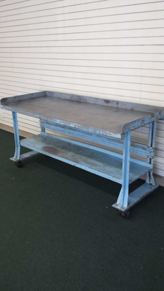 Mid Century Industrial Work Bench Table By