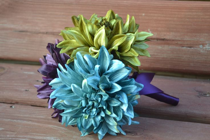 My Day Bouquet - Plum, Olive, and Teal Over-Sized Dahlia Bridesmaid, Toss, or MOH Bouquet!!!
