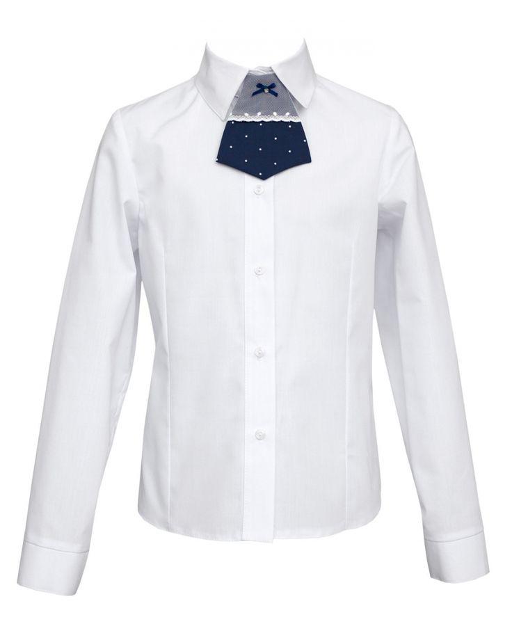 Klasyczna biała koszula dziewczęca, jednak przyozdobiona oryginalnym akcentem — granatową krawatką przy kołnierzyku. Polecamy na uroczystości szkolne i nie tylko! | Cena: 92,00 pln