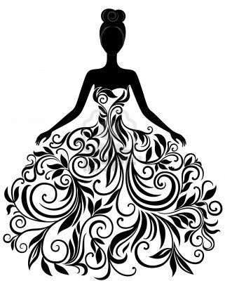 Vector silhouette of young woman in elegant wedding dress Stock Photo