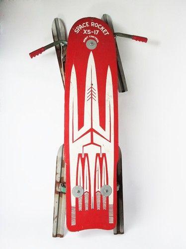 Vintage Space Rocket Xs17 Atomic Era Snow Sled Orbit