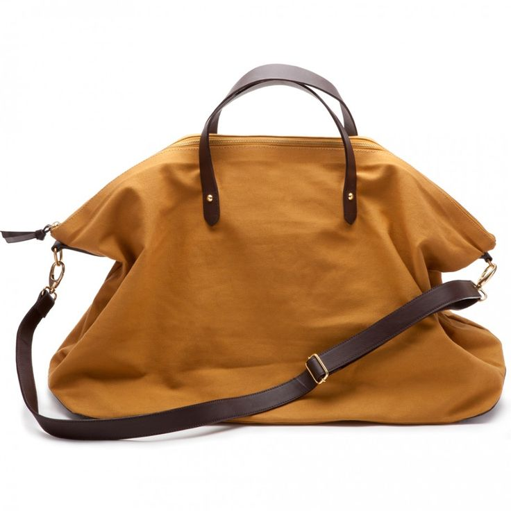 Canvas and Leather Weekend Bag in Mustard (Cuyana, $120.00) - 50% profits of this bag goes to charity:water.