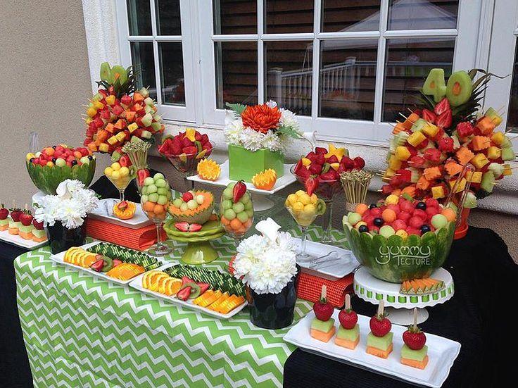 Birthday fruit display #fruitskewers #fruittree #fruitkebab #melonballs #birthday #40th #fruititarian #vegetarian #glutenfree #desserttable #healthyoptions #barbeque #fruitsalad #fruitplatter #yummytecture #weddingfruitdisplay