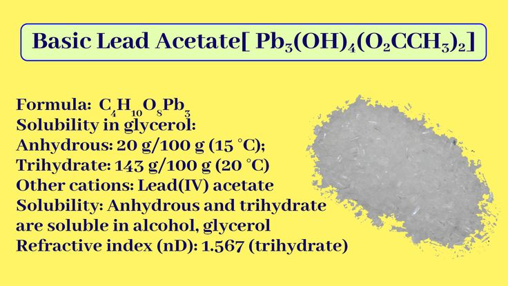 Basic Lead Acetate [Pb(OH)2.Pb(CH3COO)2] in 2020   Basic ...