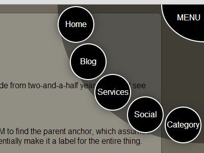 a cool navigation experiment that helps you create a multi level radius popup menu using