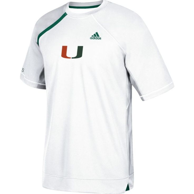 adidas Men's Miami Hurricanes Basketball Shooting White Shirt, Size: Medium, Team